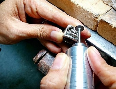 silver ring carving